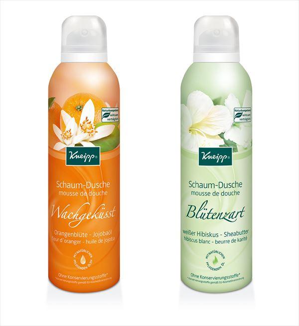 クナイプ ムースボディウォッシュ オレンジブロッサムの香りとホワイトハイビスカスの香り2種類の写真