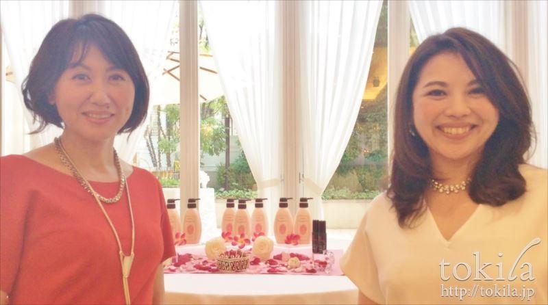 マナラ テッペン スパ シャンプー発表会 株式会社ランクアップ社長岩崎裕美子さん 統括部長日高由紀子さん
