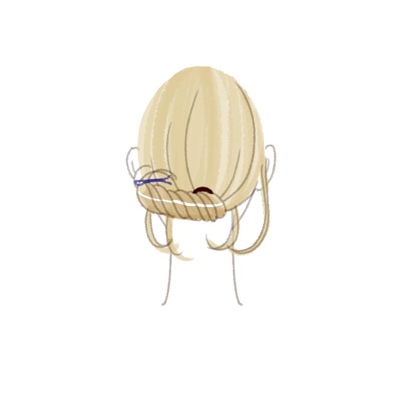まとめ髪プロセス 耳後ろでピンで固定して完成