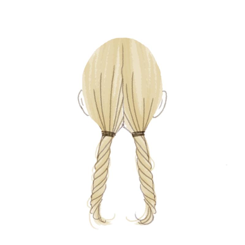まとめ髪プロセスバックで2本の毛束をつくり、それぞれねじる