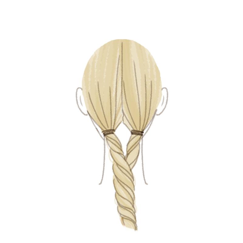 まとめ髪プロセス 2本を縄状にねじり合わせて1本にまとめる