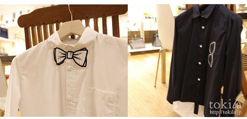 左) SUPERTHANKS ボウタイワッペンシャツ 右)サングラスワッペンシャツ¥11,000(税抜)