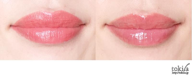 2016年春新色 ルナソル カラーリング ダブルカラーリングリップスEX02を塗った唇
