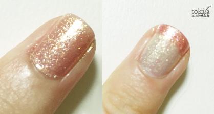 2016年春新色 ルナソル ネイルフィニッシュN EX42とEX43 塗った爪