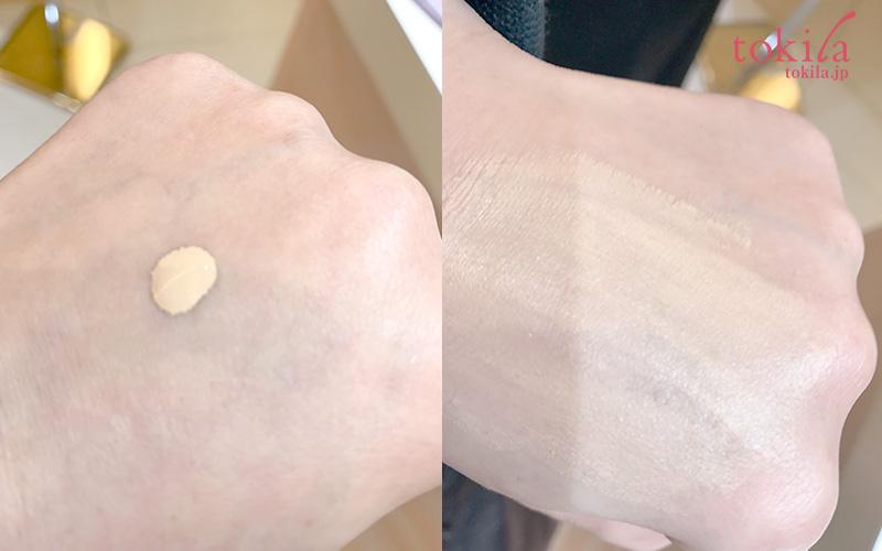カネボウ化粧品-2017ss-コフレドールヌーディカバーリクイドuvを手で試している画像