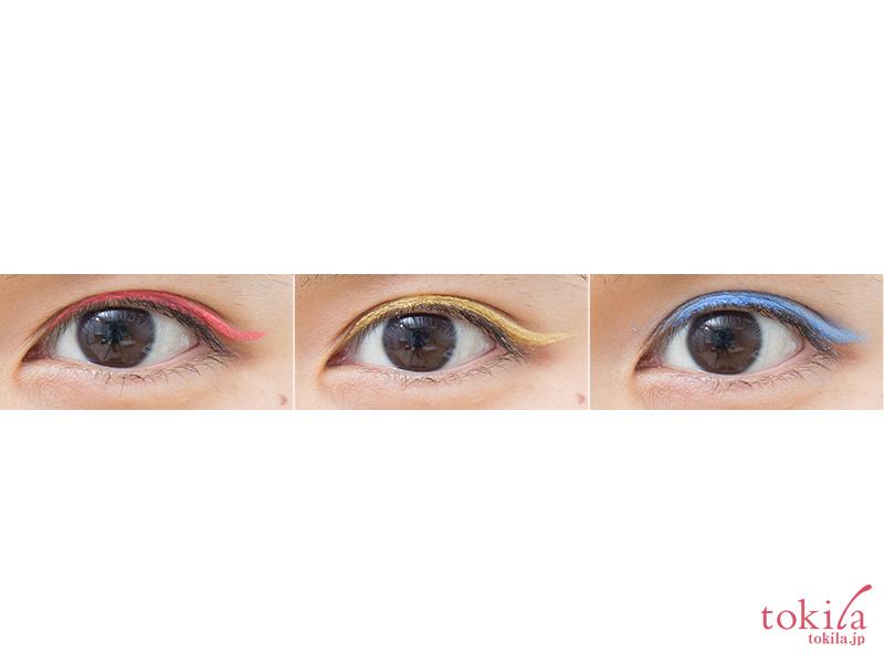 ジルスチュアート キトゥンアイズ シャドウライナー3色を目元で試した画像