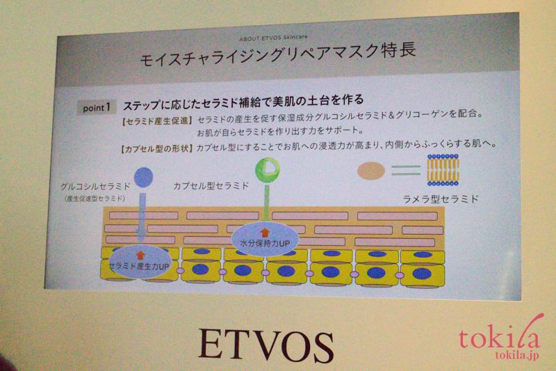 エトヴォス2017aw発表会モイスチャライジングリペアマスクの説明スライド画像