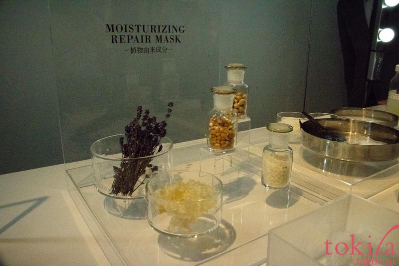 エトヴォス モイスチャライジングリペアマスクの原材料の展示