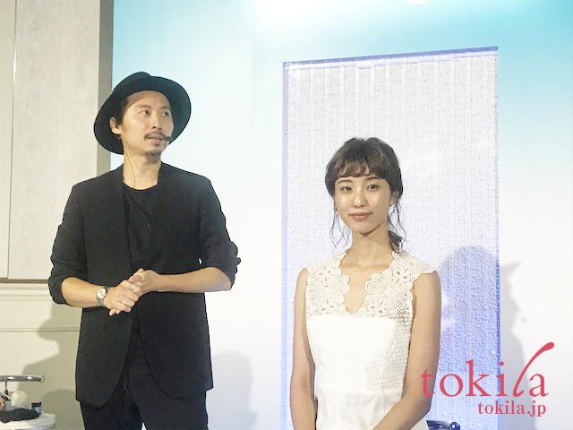 ニュートロジーナ新商品発表会ヘアメイクの久保雄司さんとモデルさん