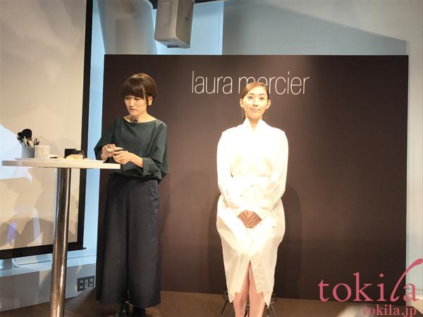 ローラメルシエ新商品発表会メイクデモのためにメイクアップアーティストのAyaさんとモデルさん