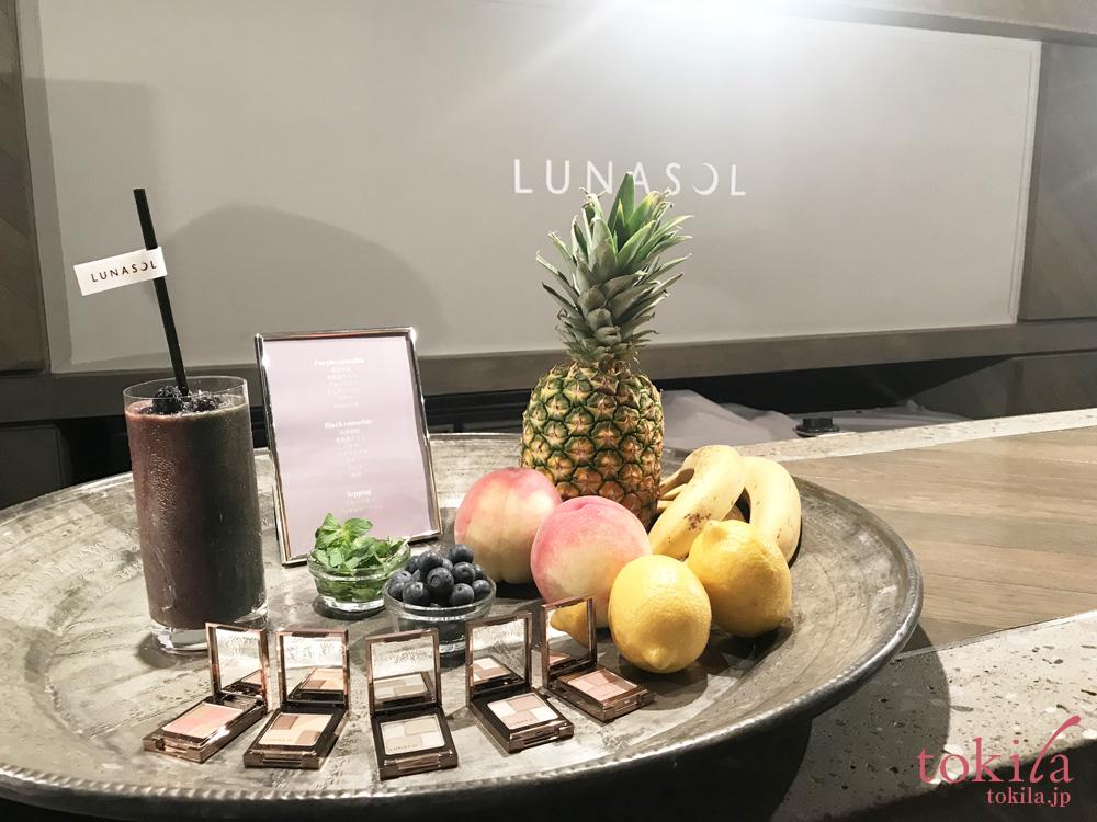 ルナソル 2018新商品発表会入口のメルティングカラーアイズとドリンク