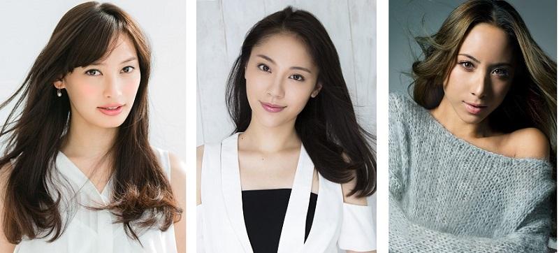 大政 絢(女優・モデル)、水沢エレナ(女優・モデル)、道端アンジェリカ(モデル)