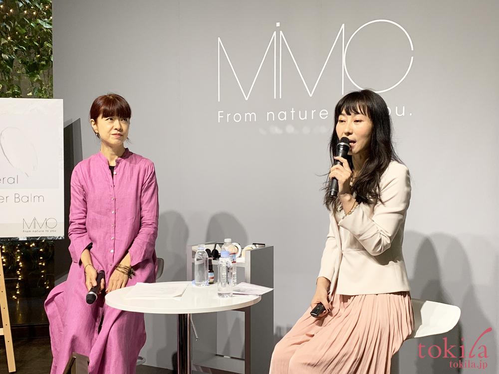 mimc2019ss発表会 メイクアップアーティストのMICHIRUさんと開発者兼代表の北島さん1