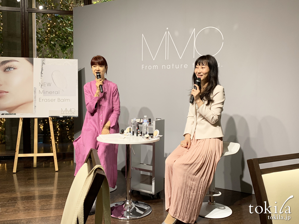 mimc2019ss発表会メイクアップアーティストのMICHIRUさんと開発者兼代表の北島さん2