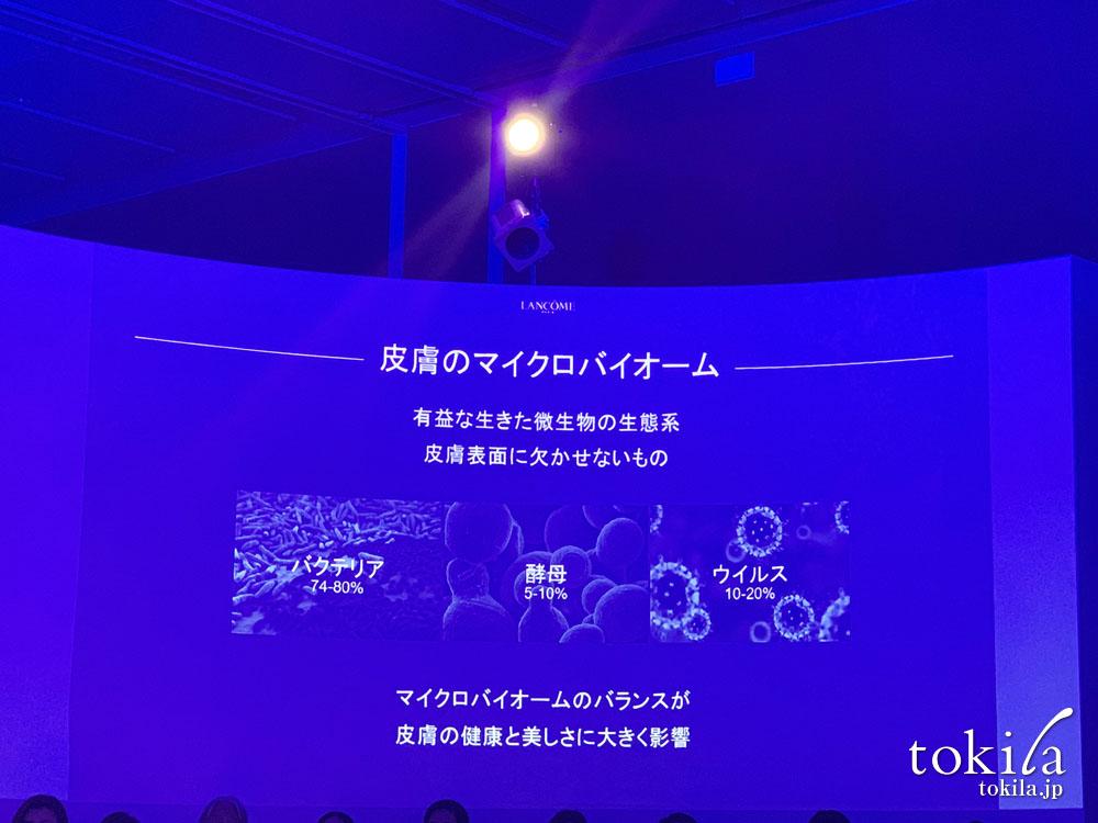 ランコム ジェニフィック アドバンスト Nの発表会 皮膚のマイクロバイオームについてのスライド