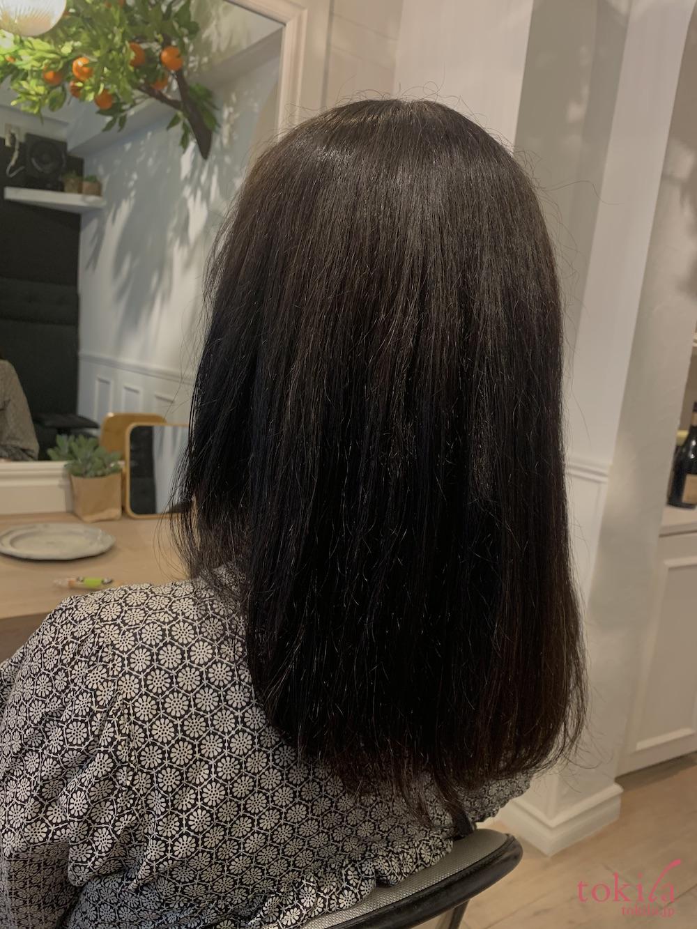 小顔カットが体感できる待望のステップボーンカット東京サロン ヘアマスク体験後の画像1